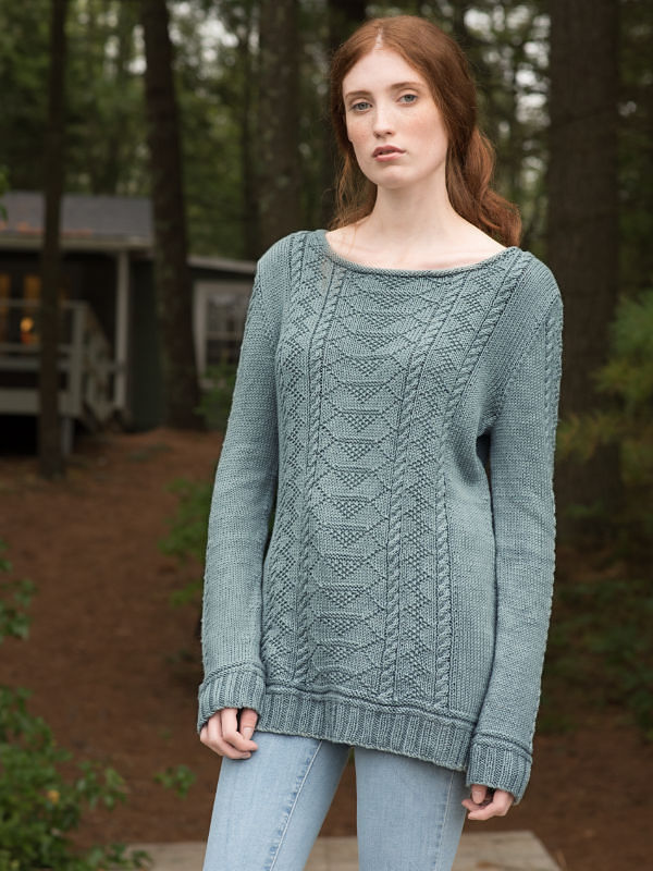 Women's knit pullover Carra. Free written pattern (ballet neck, long sleeve).