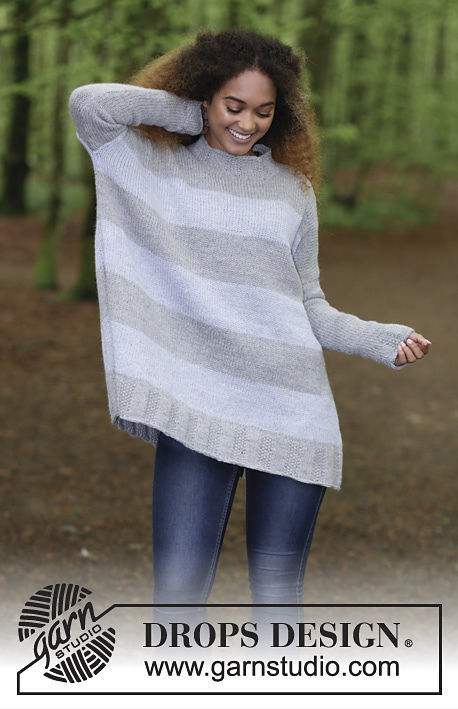 Women's knit pullover On the Horizon. Free pattern (stripes, turtleneck).