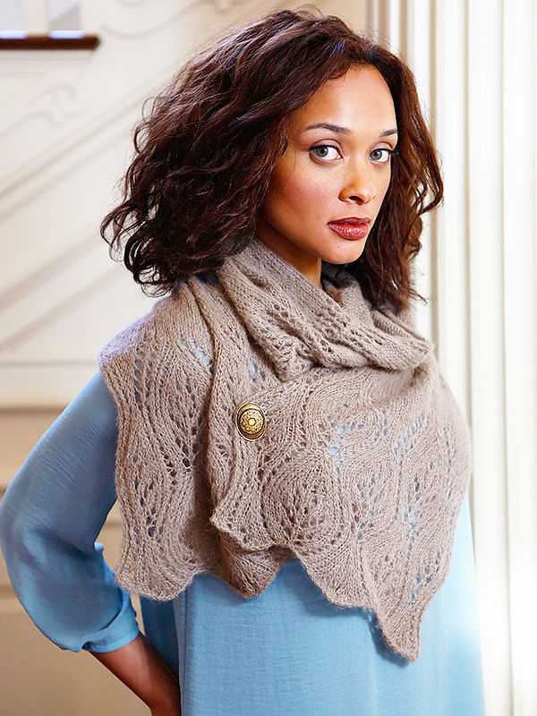 Women's knit scarf Waterhouse. Free pdf pattern (lace; Shapes: rectangle).