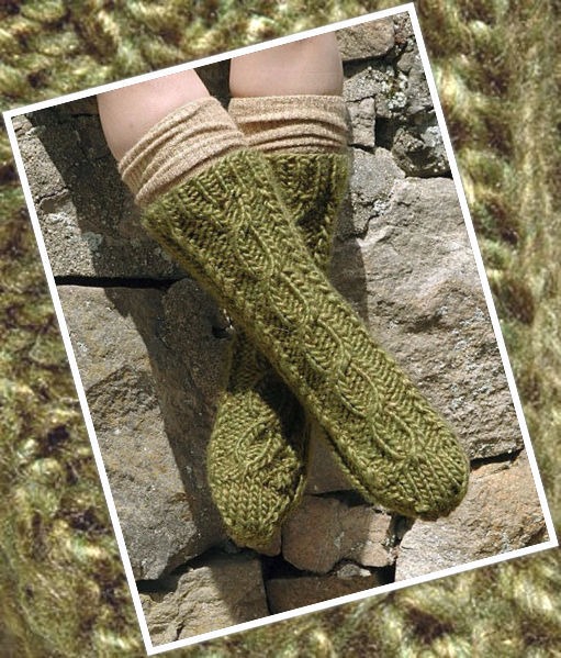 Women's knit short row heel (short row toe) Bolt Socks. Free download pattern.