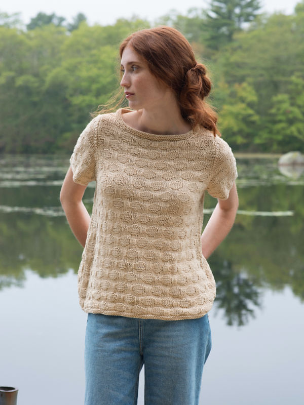 Women's knit sweater Eastman. Free written pattern (short sleeve, textured).