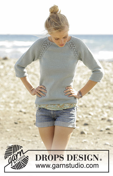 Women's knitted jumper Wind Down. Free pattern (raglan, lace, worked top down).