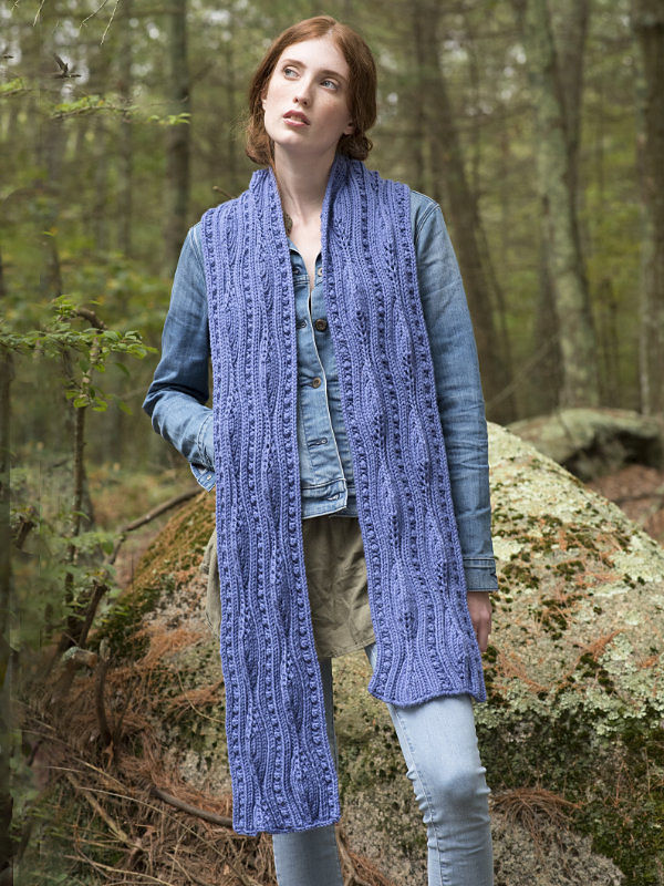 Women's lace scarf Forestdale. Free knitting pattern.