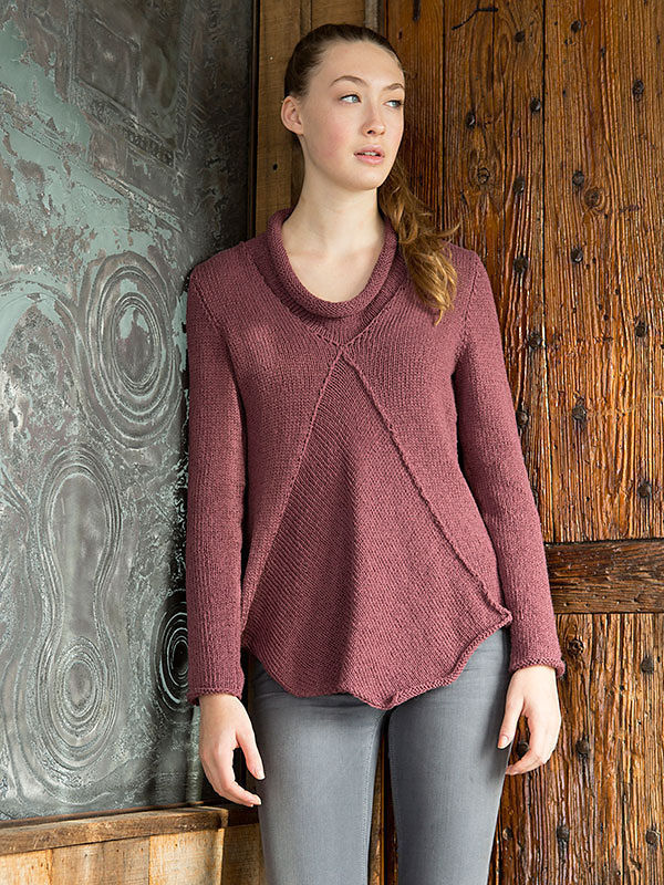 Women's pullover Anhinga 2. Knitting pattern free download (asymmetric; Collar: rolled).