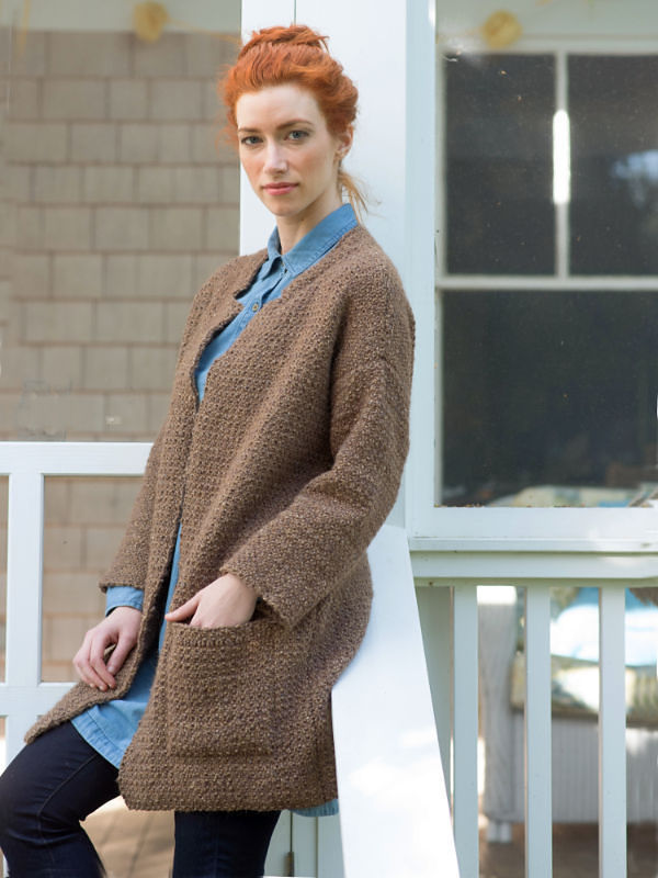 Women's textured jacket Ede. Free written pattern for knitting (patch pocket).