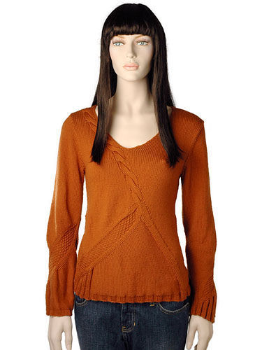 Women's v-neck pullover Tonia. Free knitting pattern (asymmetric, cables).