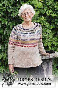 Women's and teen girls sweater Rainbow Hugs. Free pattern (split in sides, stripes, round yoke).
