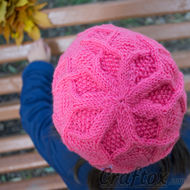Beanie for girl 'Berry'. For beginners. Top view.