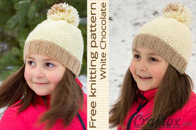 Beanie with pom-pom on top - free knitting pattern