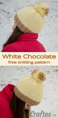 "Beanie with pom-pom on top - ""White chocolate"". Simple knitting pattern."