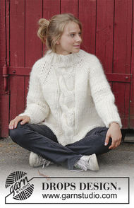 Cable knit sweater Mont Blanc. Written pattern (raglan, high collar, split in sides).