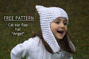 "Cat ear earflap hat ""Angel"" free knitting pattern. Front right view"