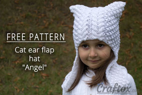 "Cat ear earflap hat ""Angel"" free knitting pattern"