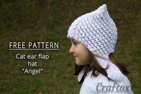 Cat ear earflap hat free knitting pattern. Left view