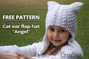 "Cat ear flap hat ""Angel"" free knitting pattern"