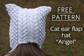 """Cat ear flap hat """"Angel"""" free knitting pattern"""