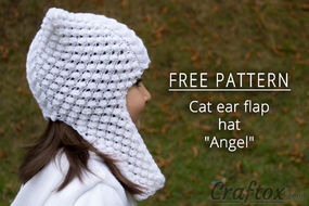 Knit hat with ear flaps. Right view