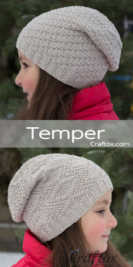 Child's slouchy beanie hat. Free knitting pattern for beginners.