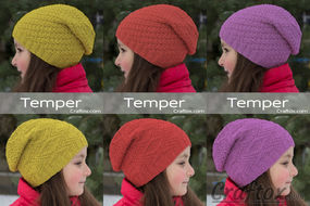 "Child's slouchy beanie hat - ""Temper"". Free knitting pattern for beginners."