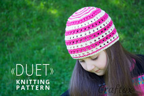Color stripe beanie hat free knitting pattern.
