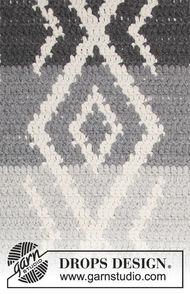 Crochet rug Grey Jacquard