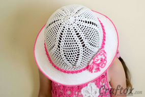 Crochet white hat for 4-5-year-old girl front-top-left view