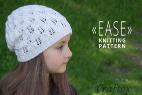 """Ease"" lace slouchy beanie hat. Free knitting pattern"