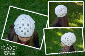 Lace slouchy beanie knit hat