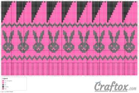 Pattern chart: Knit Bunny hat (Fair Isle / Jacquard)