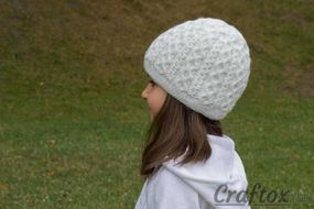 Girls winter beanie. Left view