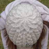 Girls winter beanie. Top view.