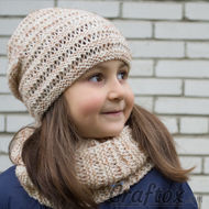 Hat and cowl set Kari. Knitting pattern for beginners. Sq.