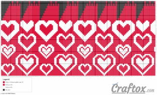 "Pattern chart: Heart hat ""Romantic"" free knitting pattern"