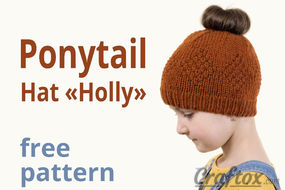 "Ponytail hat ""Holly"" free knitting pattern."