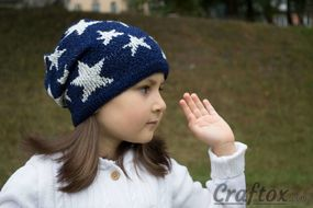 Slouchy beanie with stars. Right view.