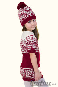 Dress and hat set. Free Jacquard knitting pattern.