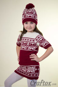 Tunic and hat set. Free Jacquard knitting pattern.