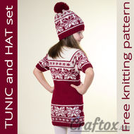 Tunic (dress) and hat set. Free Jacquard knitting pattern.
