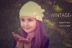 """""""Vintage"""" beanie hat with flower - free knitting pattern"""