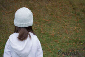 White beanie with tower back view