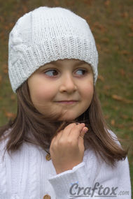 White beanie with tower. Knitting pattern.. For pin.