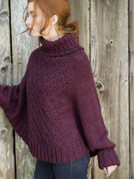 Women's and girls knit poncho Galilee. Free pattern (cables, turtleneck). 2