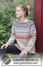 Women's and teen girls sweater Rainbow Hugs. Free pattern (split in sides, stripes, round yoke).