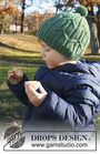 Children's knit hat Green Bird. Written pattern (cables, pompom).