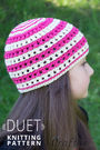 "Color stripe beanie hat ""Duet"". Free knitting pattern."