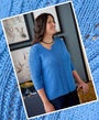Girls and women's knit pullover Tanzanite. Free pattern to download (v neck).