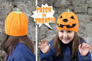 Pumpkin Hat. Knitting Halloween pattern.