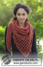 Women's and girls crochet shawl wrap Autumn Catch. Free pattern (Shapes: triangle; lace).