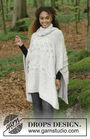 Women's and girls (teen) knit poncho Snow Queen. Free pattern.