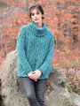 Women's sweater Perdita. Cabled pullover knitting pattern.